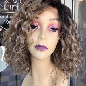 Ash Blonde 4X4 Freepart Curly Short wig 2019 Lace